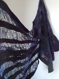 Merino wool scarf hand Felted Scarf with merino wool and silk fibers hand dyed…