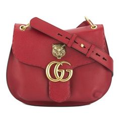 c9679822f6d Gucci Red Leather Gg Marmont Shoulder Bag