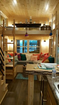 Tiny house living space with aerial lights