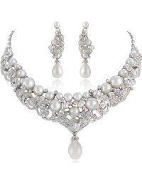 Ever Faith Austrian Crystal Ivory Color Simulated Pearl Leaf Necklace Earrings Set Clear Leaf Necklace, Austrian Crystal, Pearl Jewelry, Pearl White, Earring Set, Jewelry Sets, Ivory, Crystals, Diamond