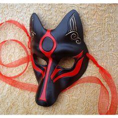 Black Okami Kitsune Mask Japanese Fox Leather Mask ($200) ❤ liked on Polyvore featuring costumes, fox halloween costume, leather costume, maison kitsuné and fox costume
