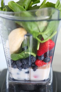 Antioxidant Smothie -- 1 frozen banana, 1/2 cup unsweetened almond milk, 1/2 cup blueberries, 1/2 cup strawberries, huge handful of spinach!