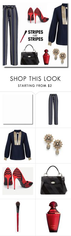 """""""Stripes on Stripes"""" by juliannedieyi ❤ liked on Polyvore featuring Markus Lupfer, Zeus+Dione, Marchesa, Proenza Schouler, Guerlain, stripesonstripes and PatternChallenge"""