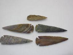5 Stone spearheads  ....v5b72.....Ornamental replica primitive tool... arrowheads