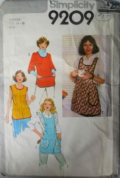 Simplicity 9209 Womens 70s Set of Aprons Sewing Pattern Size Medium (14-16) Bust 36-38