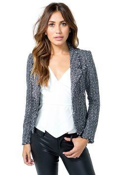 BOUTIQUE FIVE A fitted tweed jacket featuring a shawl lapel and an open front. Long sleeves. Side zip pockets. Frayed edges. $37.90 Chanel Style Jacket, Chanel Fashion, Tweed Jacket, Shawl, Blazer, Boutique, Long Sleeve, Sleeves, Jackets