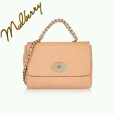 Peach Mulberry handbag with brass & leather chain strap