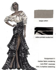 """@fashionillustration_larawolf shared a photo on Instagram: """"Fabric rendering in marker project examples #fashionillustration #fashion #marker #fashionsketches #sketching #illustration #fashiondrawing…"""" • Sep 25, 2018 at 4:01pm UTC Fashion Design Sketchbook, Fashion Design Portfolio, Fashion Design Drawings, Fashion Sketches, Fashion Illustration Tutorial, Fashion Illustration Dresses, Fashion Figures, Traditional Fashion, Fashion Project"""