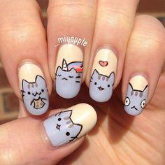 Pusheen the cat nail art Nail Art Totoro, Cat Nail Art, Cat Nails, Acrylic Nail Art, Emoji Nails, Fancy Nails, Love Nails, Nails For Kids, Kawaii Nails