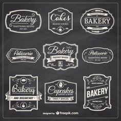 Dibujado a mano insignias de panadería Vector Gratis