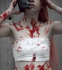 Sensual and Delicate Portrait Photography by Pavel Apal`kin- Red Aesthetic, Character Aesthetic, Aesthetic Grunge, Aesthetic Vintage, Aesthetic Photo, Aesthetic Anime, Blood Art, Dark Portrait, Crying Girl
