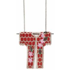Forest Of Chintz Floral Kimono Pendant Necklace ($396) ❤ liked on Polyvore featuring jewelry, necklaces, red, beading necklaces, red bead jewelry, pendant necklace, beaded pendant necklace and red necklace