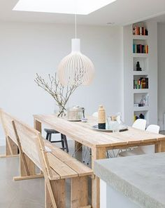 Wooden table & white room