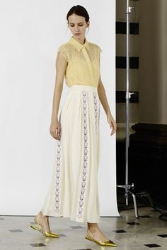 Toujouri long panelled skirt and chantilly lace shirt