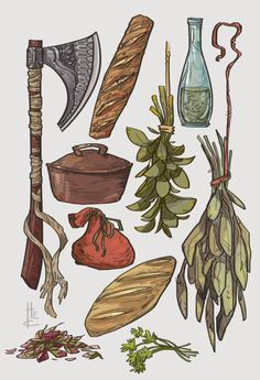 Item Sketches 3 by Nafah axe bread spices sack pot potion of healing wine equipment gear magic item Prop Design, Game Design, Fantasy Kunst, Fantasy Art, Tag Art, Poses References, Fantasy Weapons, Dungeons And Dragons, Art Inspo