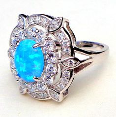 Australian Blue Opal, (sz and White Topaz Sterling Silver Ring Blue Opal, White Topaz, Teal Blue, Mom And Sister, October Birth Stone, Birthstones, Diamond Cuts, Sterling Silver Rings, Heart Ring