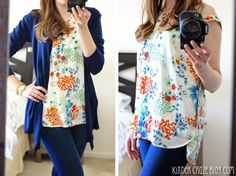 Stitch Fix Daniel Rainn Hydie Floral Print Crochet Detail Blouse --- Love the print and the shoulder cutouts/details. (Don't like the hi-lo. Probably too loose/boxy in the fit)