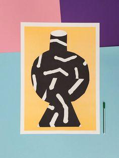 A A2 riso print of a huge oversized black pattern vase