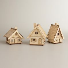 Laser-Cut Wood Houses, Set of 3 | World Market - $27