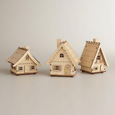 Laser-Cut Wood Houses, Set of 3 | World Market