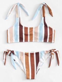 7d5868104c Striped Knot Bikini Set Mermaid Suit