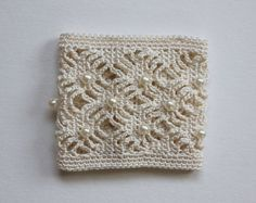 Crochet Cuff Handmade with Faux Pearls Perfect for by twoknit,