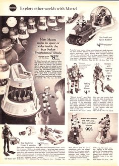 Major Matt Mason toys, from the Sears Wishbook Vintage Toys 1970s, 1960s Toys, Retro Toys, Vintage Ads, Retro Advertising, Vintage Advertisements, Science Fiction, Childhood Toys, Childhood Memories