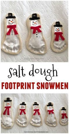 Salt dough footprint snowmen ornaments are adorable! Cute kids craft for christmas Michelle CraftyMorning com is part of Cute Kids Crafts Christmas Salt dough footprint snowmen ornaments are ador - Cute Kids Crafts, Xmas Crafts, Baby Crafts, Toddler Crafts, Christmas Crafts For Children, Grandparents Christmas Gifts, Kids Diy, Christmas Crafts For Kids To Make Toddlers, Crafts For Babies