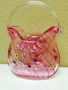 Pink Heavy Blown Glass Peppermint Swirl Pattern Purse/Vase