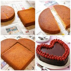 Love this idea. Who knew making a beautiful heart cake was so easy! Who would you make this heart cake for? Köstliche Desserts, Delicious Desserts, Dessert Recipes, Yummy Food, Cupcake Cakes, Cupcakes, Heart Shaped Cakes, Heart Cakes, Butterfly Cakes