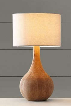 Wooden base table lamp from Next Home Bedside Lamps Wood, Wood Desk Lamp, Wooden Table Lamps, Wood Lamp Base, Wood Turning Projects, Lamp Bases, Lamp Design, Home Decor Items, Home Interior Design