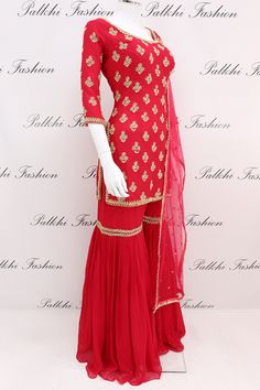 Appealing Red Pure Georgette Gharara Suit With Handwork