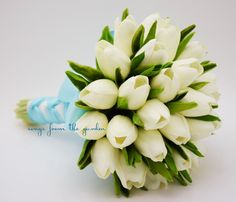 Real Touch Tulips Bridal Bouquet White Light Blue Ribbon Tulip Wedding Flower Package Real Touch Silk Artificial Tulips
