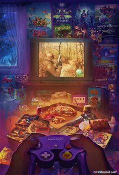 """Wakka Wakka Wakka"": Amazing Nostalgic Video Game Artworks By Rachid Lotf videojuegos, ""Wakka Wakka Wakka"": Amazing Nostalgic Video Game Artworks By Rachid Lotf Retro Videos, Retro Video Games, Video Game Art, Retro Games, Video Game Drawings, Metal Gear Solid, Star Fox, Ps Wallpaper, Gamecube Games"