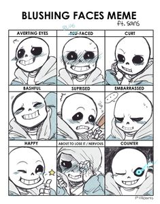 Got a request on tumblr to draw blushing sans. The more faces I drew, the more I fell in love with him. tumblr ver