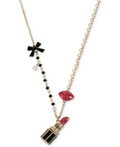 Betsey Johnson Gold-Tone Lipstick Multi-Charm Chain Necklace - Fashion Jewelry - Jewelry & Watches - Macy's