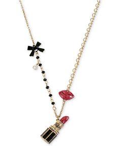 Betsey Johnson Gold-Tone Lipstick Multi-Charm Chain Necklace - Fashion Jewelry - Jewelry & Watches - Macy's