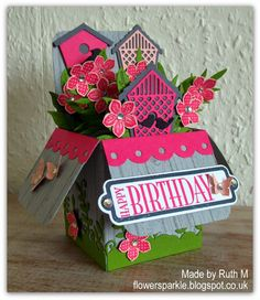 Flower Sparkle: Birdhouses & Blooms Birthday Card In A Box