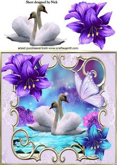 WHITE SWANS WITH FANTASY FLOWERS AND BUTTERFLY 8X8 on Craftsuprint - Add To Basket!