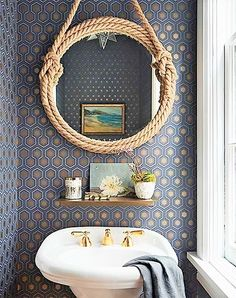 Add a little pizzazz to your bathroom with color. We've rounded up our favorite tips for bathroom color including bathroom ceiling paint and bathroom tile color. These tips will help you choose the best bathroom color for your home. Add a little pizzazz Nautical Bathrooms, Small Bathroom, Bathroom Ideas, 1950s Bathroom, White Bathroom, Master Bathroom, Shower Ideas, Bathroom Furniture, Bathroom Interior