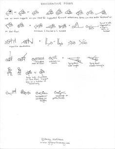 Restorative Yoga Sequence, Yoga Sequences, Partner Yoga, Yin Yoga, Yoga Meditation, Yoga Stick Figures, Spirit Yoga, Pranayama, Ashtanga Yoga