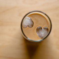 iced coffee with heart-shaped ice cubes