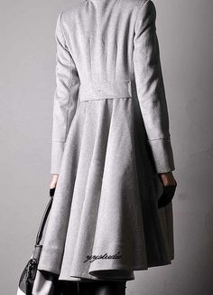 Smoke Gray Pure Cashmere Silk Satin Pleated Skirt Long Victorian Trench Swing Coat. $398.00, via Etsy.