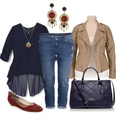 boyfriend jeans, flowing hi low blouse, burgundy flats, great earrings and long necklace. cropped moto style jacket and navy tory burch bag.