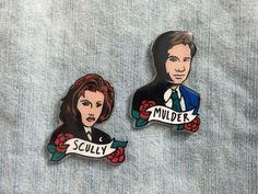 Mulder and Scully X Files Pins, Fox and Dana Buttons, 90s TV Show Character pin by Ectogasm on Etsy www.etsy.com/…