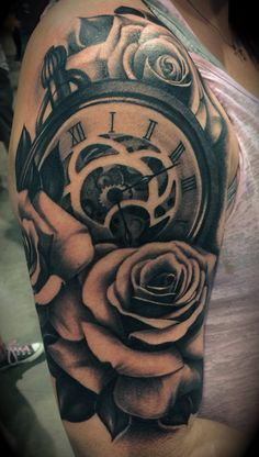 Rose tattoo, shoulder tattoo, women's sleeve tattoo, inkslingers, black and grey, this shit hurt!