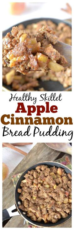 This Healthy Apple Cinnamon Bread Pudding is a quick and easy dessert or breakfast and is a great way to use up leftover bread! Also can be #vegan #paleo and #glutenfree