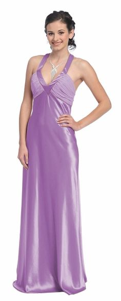 Cheap Lilac Prom Gown Full Length Formal Lilac Bridesmaid Dress Satin $77.99