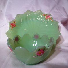 Vintage Fire King Jadeite Handpainted Lotus Leaf Blossom Plate & Bowl Set