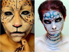 Leopard und Schlange - Gesicht Schminke zu Halloween